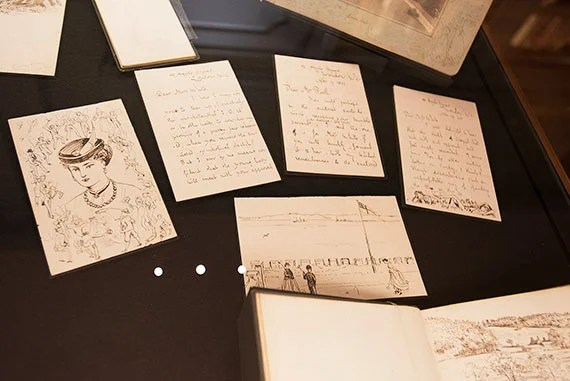 Crane's drawing of his wife Mary, featuring correspondence to her before they were married. Photo by Jeffrey Blackwell/Harvard Correspondent