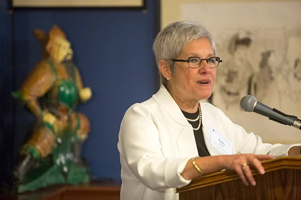 """One commitment I had when I first started was to make faculty at Harvard feel not just a part of their department or School, but of Harvard University,"" said Senior Vice Provost for Faculty Development and Diversity Judith D. Singer (photo 1) in addressing the group (photo 2). Provost Alan M. Garber (photo 3) urged new faculty to immerse themselves not just in their departments, but in the University at large."