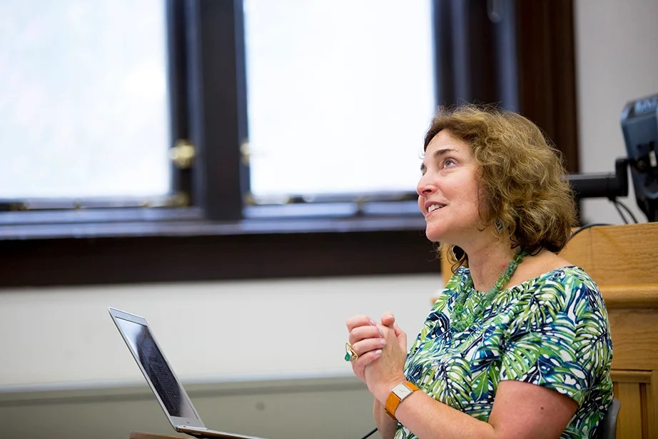 """Julie A. Buckler teaches """"The Urban Imagination"""" in Emerson Hall. Rose Lincoln/Harvard Staff Photographer"""