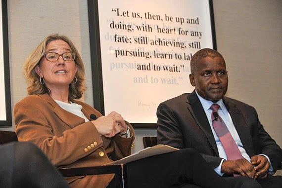 Dangote was introduced by Caroline Elkins, Oppenheimer Faculty Director of the Center, professor of history and of African and African-American Studies.