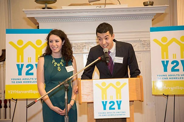 Sarah Rosenkrantz '14 (from left) and Sam Greenberg '14, co-founders of Y2Y Harvard Square, saw a vision become a reality as First Parish became the location of what officials describe as the nation's first student-run overnight shelter for youth. Keynote speaker Sen.