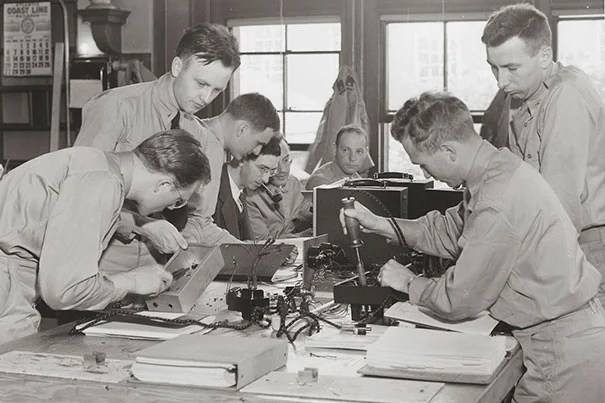 Soldiers involved in a hands-on training course at Harvard's Cruft High Tension Laboratory in the summer of 1943. Photo courtesy of the Harvard University Archives
