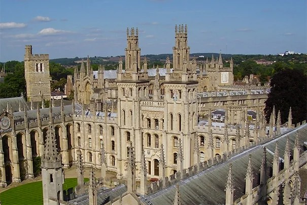 Harvard's latest class of Rhodes Scholars will pursue their research at Oxford in the fall. There are 38 colleges within the University of Oxford. Pictured is the College of All Souls of the Faithful Departed from St. Mary's.