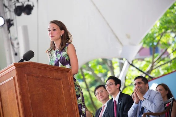 Class Day Exercises for the Class of 2015 at Harvard University take place in Tercentenary Theatre. Natalie Portman '03 is the guest speaker. Natalie Portman is pictured at the podium. Stephanie Mitchell/Harvard Staff Photographer