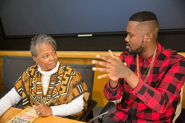"Jamala Rogers (left) and Tef Poe were among the panelists to discuss ""Generations of Struggle: St. Louis from Civil Rights to Black Lives Matter."""