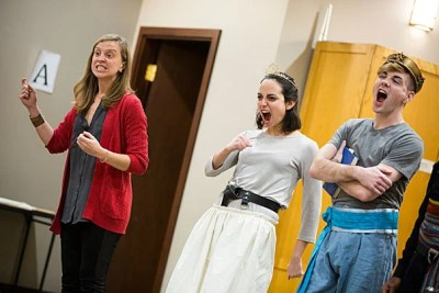 """Allegra Libonati (from left) directs actors Ali Stoner and Kyle VanZandt in a scene for the American Repertory Theater Institute's production of """"The Pirate Princess."""""""