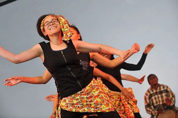 Members of Harvard's Pan-African Dance and Music Ensemble during one of their performances. File photo by Jon Chase/Harvard Staff Photographer