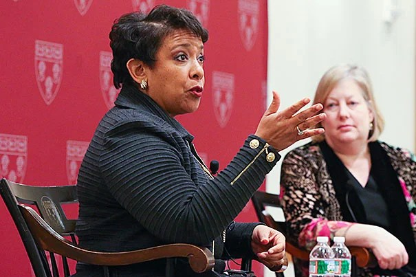 """U.S. Attorney General Loretta Lynch: """"And when you think about it, all of us, no matter where we're from … whether we are at Harvard Law School or whether we're working or whether we in fact may be behind bars, all of us need a helping hand at some time or another."""""""