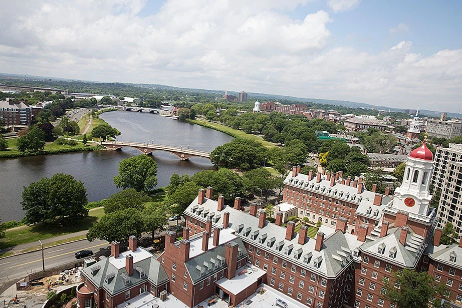 Dunster House and the Weeks Bridge seen from the Mather House tower. Kris Snibbe/Harvard Staff Photographer