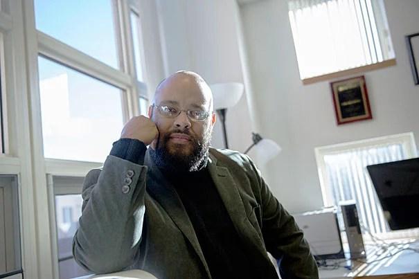 Phillip Abita Goff, visiting professor works in his Taubman Building office at HKS at Harvard University. Kris Snibbe/Harvard Staff Photographer