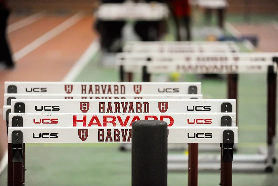 Harvard hurdles are stacked beside the track until the sprints are finished.