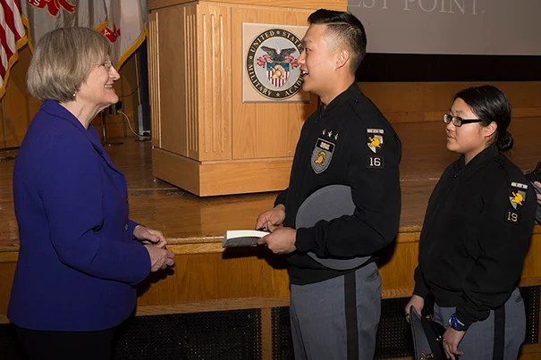 The humanities offer three qualities of value to leaders: perspective, improvisation, and persuasion, said President Drew Faust during her visit to the U.S. Military Academy at West Point. Faust also spent the day meeting with faculty members and academy cadets.