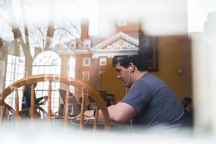 "Roman Berens '16 says he spends more time studying in the Lowell House dining hall than anyone else in the house. ""I have been here since 10 last night and it's time for breakfast now. I just love being here more than my room,"" says Berens."