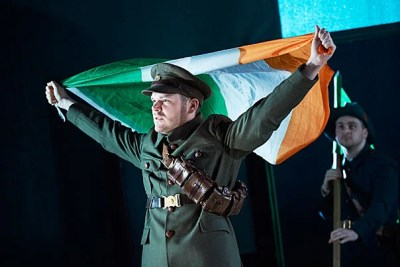 """Lloyd Cooney (from left) and Liam Heslin in the Abbey Theatre's production of """"The Plough and the Stars"""" by Sean O'Casey."""