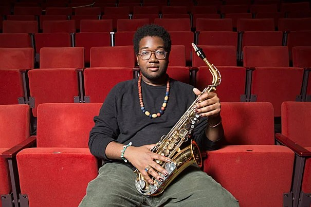 """Joshuah Campbell, a dual concentrator in music and Romance languages and literatures, will deliver the undergraduate speech. """"I hope that [listeners] will go away more OK being, for lack of a better word, unapologetic,"""" he said. Photo by Jon Chase/Harvard Staff Photographer"""