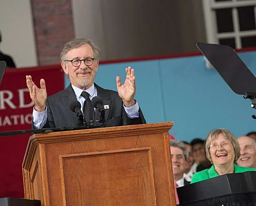 """""""Today, you start down the path of becoming the generation on which the next generation stands. And I've imagined many possible futures in my films, but you will determine the actual future. And I hope it's filled with justice and peace,"""" said Steven Spielberg, who was the principal speaker at Harvard's 365th Commencement."""