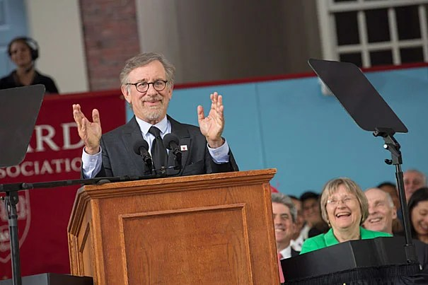 """Today, you start down the path of becoming the generation on which the next generation stands. And I've imagined many possible futures in my films, but you will determine the actual future. And I hope it's filled with justice and peace,"" said Steven Spielberg, who was the principal speaker at Harvard's 365th Commencement."