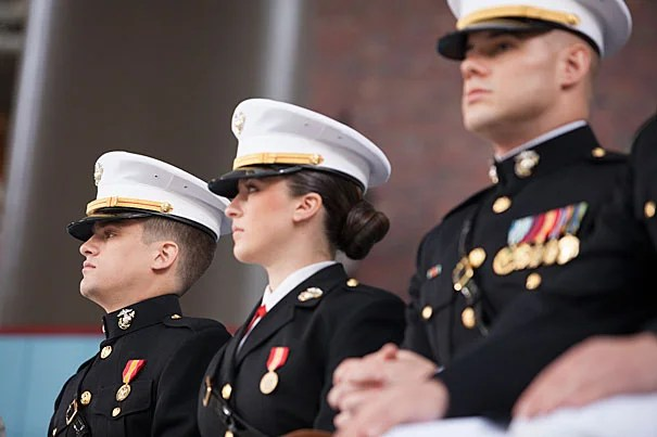 The ROTC Commissioning Ceremony for the Class of 2014 took place in Tercentenary Theatre. James S. Brooks (from left), Catherine A. Brown, and Taylor B. Evans were among the cadets commissioned. Stephanie Mitchell/Harvard Staff Photographer
