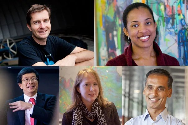 New Harvard College Professors (clockwise from top left): David Charbonneau, Marla Frederick, Shigehisa Kuriyama,  Ann Pearson, and Salil Vadhan.