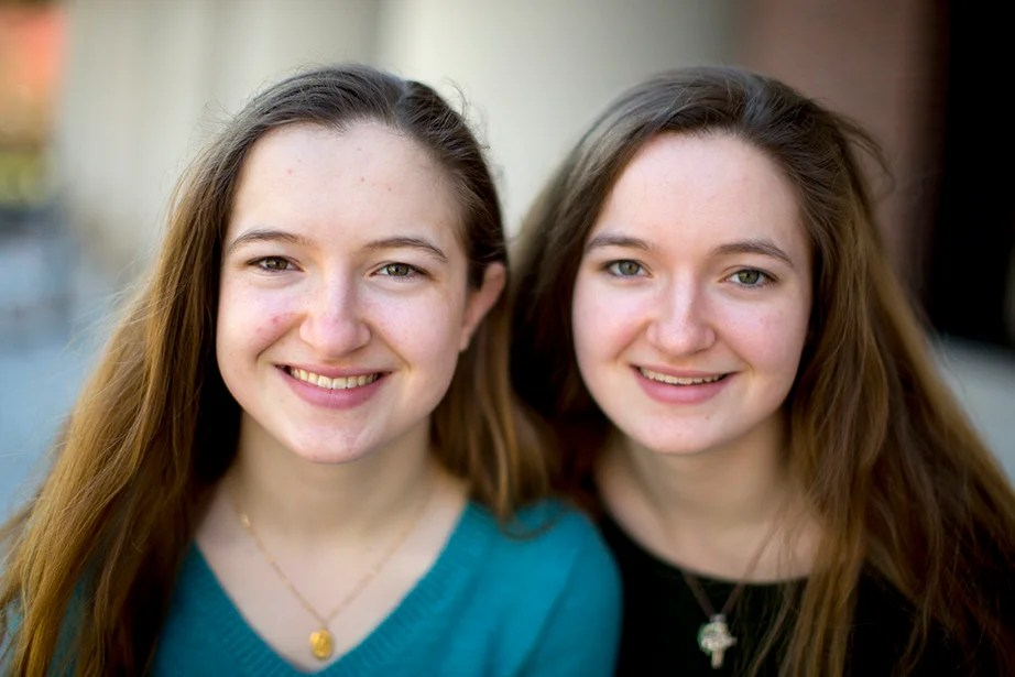 "Identical twins Alannah (left) and Grace O'Brien are in their first year at Harvard. Alannah writes, ""I get mixed up with my sister almost too many times to count. For example, one day in Annenberg Hall, a guy I didn't know came up and said hi to me. It soon became clear that he thought I was Grace. When I told him I was Grace's twin, he thought I was pranking him, and it took some convincing."" Rose Lincoln/Harvard Staff Photographer"