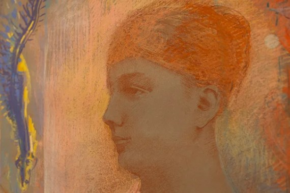 "A drawing, ""Head of a Young Woman,"" by Odilon Redon, is pictured in detail during the installation. Stephanie Mitchell/Harvard Staff Photographer"