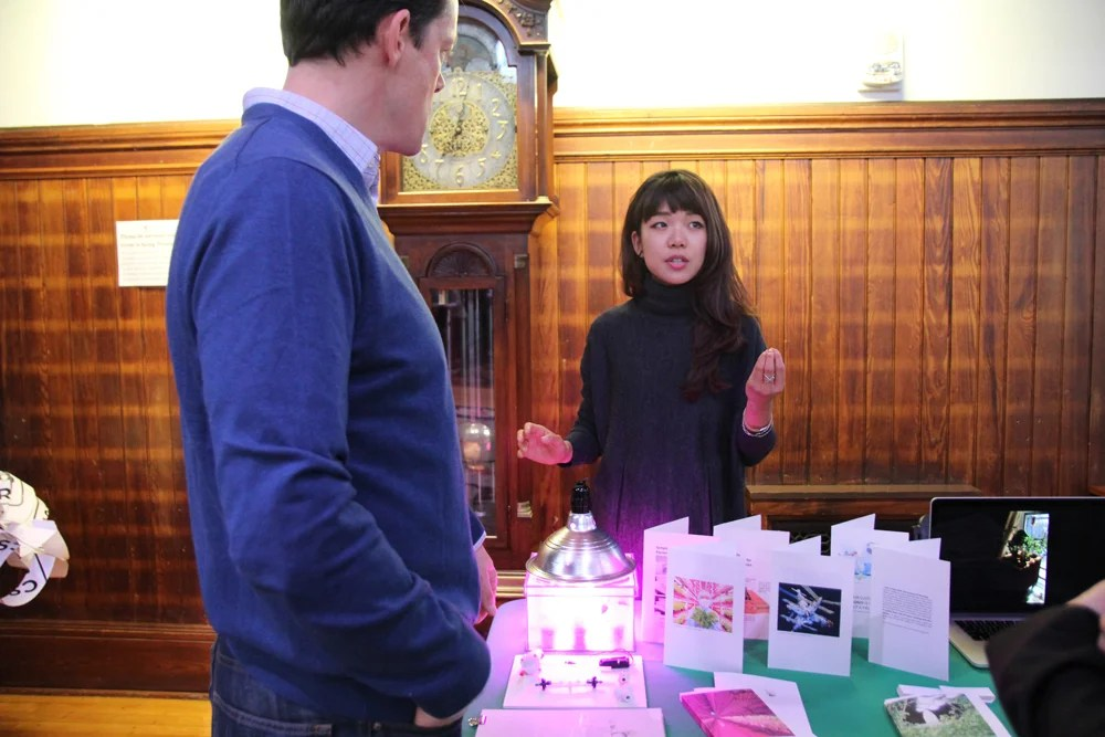 Jiyoo Jye, M.Des. '16, is exploring ways to grow food in the absence of soil using sterile, synthetic plastic vessels such as plastic tubing and fogponics as an effective way to grow plants inside a fog chamber for hydration.