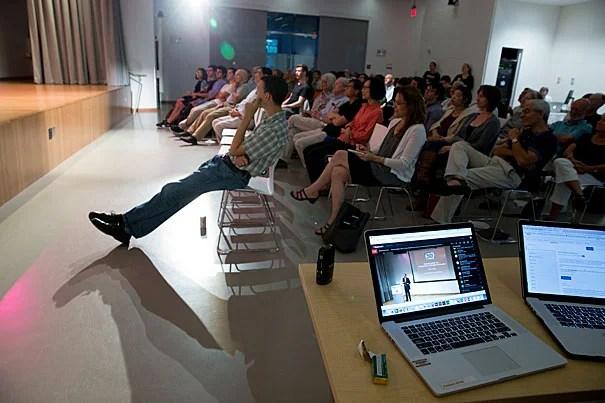 Students listen to Professor Glenn Cohen's lecture at the Harvard Ed Portal. Rose Lincoln/Harvard Staff Photographer