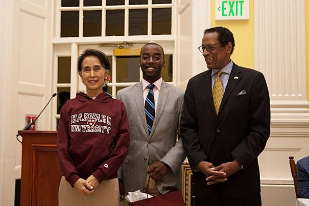 Aung San Suu Kyi (left), state counselor of the Republic of Myanmar, received the Harvard Foundation's 2016 Harvard Peter J. Gomes Humanitarian Award Devontae Freeland '19, Harvard Foundation Intern Dr S Allen Counter Jr Director of the Harvard Foundation and Member of the Faculty of Arts and Sciences; Consultant in Audiology in the University Health Services; Professor of Neurology, Part-time