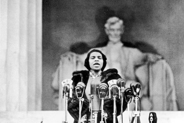 Forbidden from performing at Constitution Hall, Marian Anderson sang in front of the Lincoln Memorial, drawing a crowd of over 75,000. Courtesy of Library of Congress