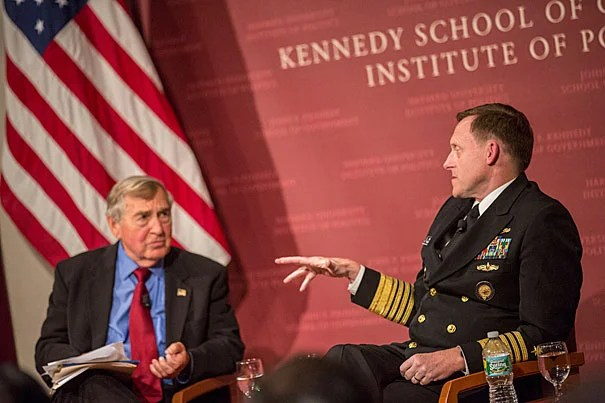 Michael S. Rogers, (right) Commander, U.S. Cyber Command Director, National Security Agency/Chief, Central Security Service has a discussion with Graham Allison, Director, Belfer Center for Science and International Affairs, Douglas Dillon Professor of Government at the Harvard Kennedy School JFK Forum. Kris Snibbe/Harvard Staff Photographer