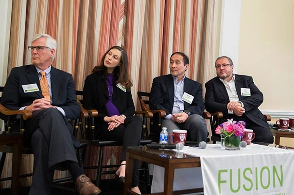 David Scadden (from left), Gerald and Darlene Jordan Professor of Medicine, Jenna Galloway, Assistant Professor of Orthopedic Surgery, Richard T. Lee, Professor of Stem Cell and Regenerative Biology and Pete Coffey, Professor of Molecular Ophthalmology, UCL speak at FUSION, an OTD event at HBS on the business of regenerative medicine.