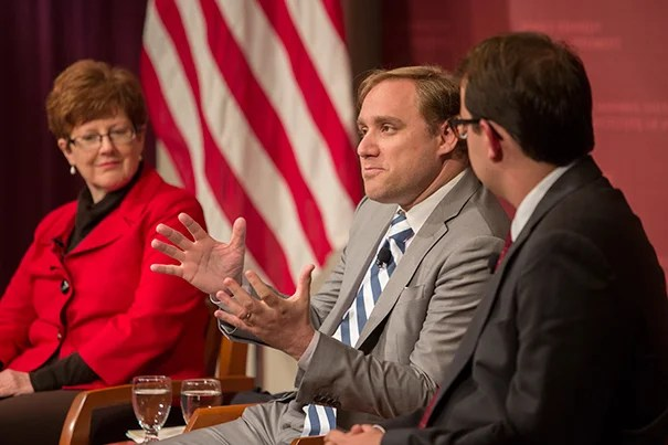 """Dmitri Alperovitch (center), chief technology officer at CrowdStrike, speaks about uncovering the DNC hack during """"Could the Election be Hacked? Evaluating Threats, Motives and Effects."""""""