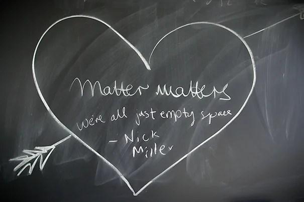 A little physicist humor written on a CERN blackboard. Joe Sherman/Harvard Staff Photographer