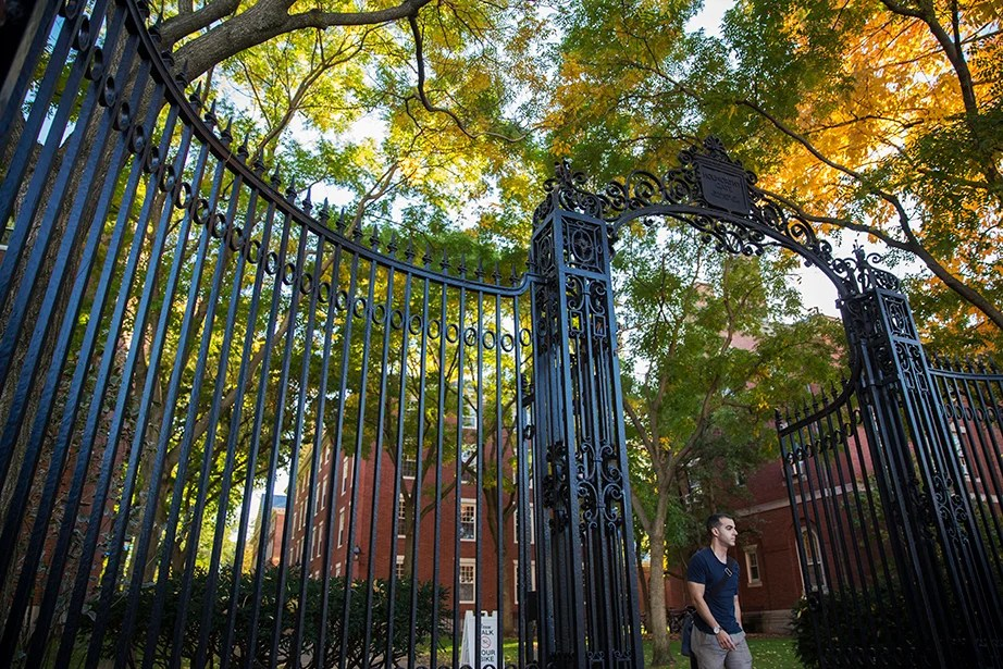 "Foliage frames the Holworthy Gate, inscribed ""In Memory of Dear Old Times."" Kris Snibbe/Harvard Staff Photographer"