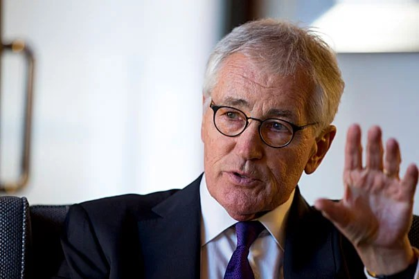 """Politics is still a noble business,"" said former U.S. Secretary of Defense Chuck Hagel. ""I think this country is so much better than what the world is seeing."