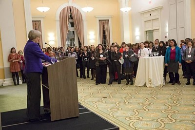 """Your presence here tonight — this uplifting force of nearly 150,000 Harvard and Radcliffe alumnae across the globe — was once just unimaginable,"" Harvard President Drew Faust told the approximately 500 alumnae and students who attended Women's Weekend during its kickoff on Friday."