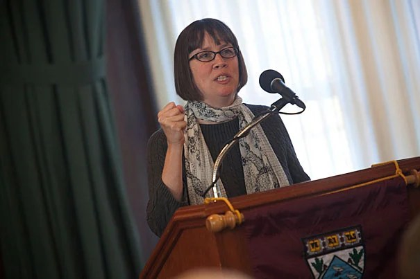 Stephanie Paulsell, Houghton Professor of the Practice of Ministry Studies speaks as Toni Morrison, (not pictured) Robert F. Goheen Professor in the Humanities, Emerita, Princeton attends a working group focused on the religious dimensions of Morrison's writings this semester in the Braun Room at the Harvard Divinity School at Harvard University. Kris Snibbe/Harvard Staff Photographer