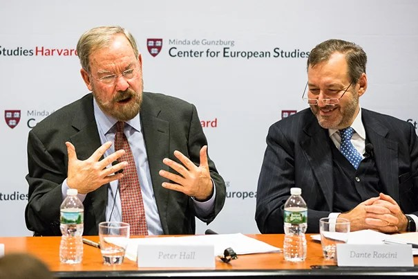 Peter A. Hall, Krupp Professor of European Studies and resident faculty at CES and Dante Rossini, professor of management practice at HBS and faculty associate. Photo by David Elmes/Minda de Gunzburg Center for European Studies