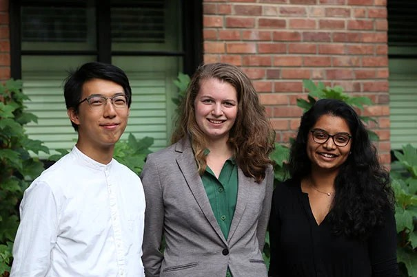 Dumbarton Oaks first humanities fellows John Wang '16 (from left), Rebecca Rosen '15, and Priya Menon '16 will return to the library in the spring to work on research projects after spending the fall and winter at partner cultural organizations.
