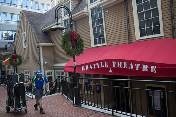 """As part of a student column about """"The Hidden Spots of Harvard Square: A Studentís Guide"""" the Brattle Theater was featured. Kris Snibbe/Harvard Staff Photographer"""
