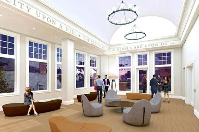 An artist's rendering of the completed rooftop room on Robert M. Beren Hall, the new addition to Winthrop House.