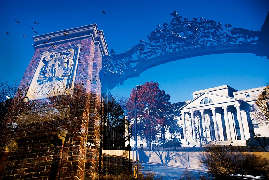 Johnston Gate, the first, largest, and most lavishly constructed entrance to Harvard Yard, arches over the Littauer Building.