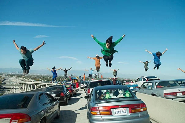 """A scene from the opening number of the hit musical """"La La Land."""" Photo by Dale Robinette/Lionsgate"""