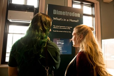 """Ashley Fox (left) and Casey Lonabocker check out one of the four kiosks in the exhibit """"What's in a Name?"""" at the Harvard Museum of Natural History. The exhibit's purpose is to clear up visitors' confusion of scientific names through images, information, stories, and games."""
