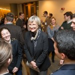 """At the Pusey Library exhibit """"To Serve Better Thy Country,"""" President Drew Faust greets ROTC undergraduates. As Harvard's president, Faust has been instrumental in returning ROTC to the University."""