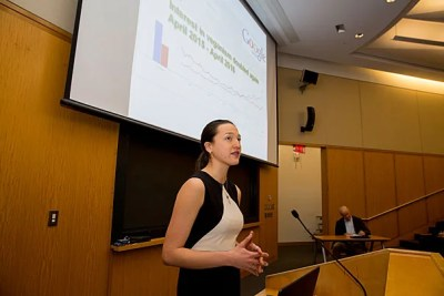 Nina Gheihman, a Ph.D. candidate at Harvard, invited people to ask questions about their ties to the social norms of their food choices. A vegan, Gheihman was one of 24 speakers at the Weatherhead's Global Food+ 2017 summit.