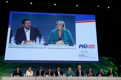 In January 2016, the first congress of the Europe of Nations and Freedom brought together Romania's Laurentiu Rebega (from left), Britain's Janice Atkinson, Holland's Marcel De Graaf, Japan's Tomio Okamura, Italy's Northern League leader Matteo Salvini, French National Front president Marine Le Pen, Firebrand Dutch lawmaker Geert Wilders, Austria's Heinz Christian Strache, Holland's Marcel De Graaf.