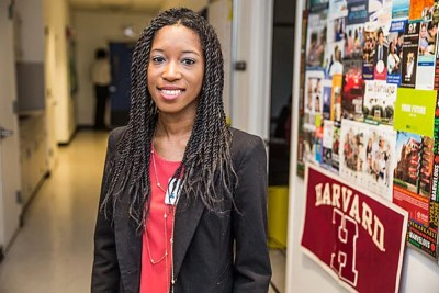 Shaunte Butler '14 joined President Drew Faust at Miami Northwestern, where Butler attended high school, to speak to current students about her experience with financial aid and the importance of pursuing higher education.