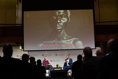 """Harvard President Drew Faust shared the Radcliffe stage with award-winning writer Ta-Nehisi Coates, who delivered the keynote address at the daylong conference, """"Universities and Slavery: Bound by History."""""""