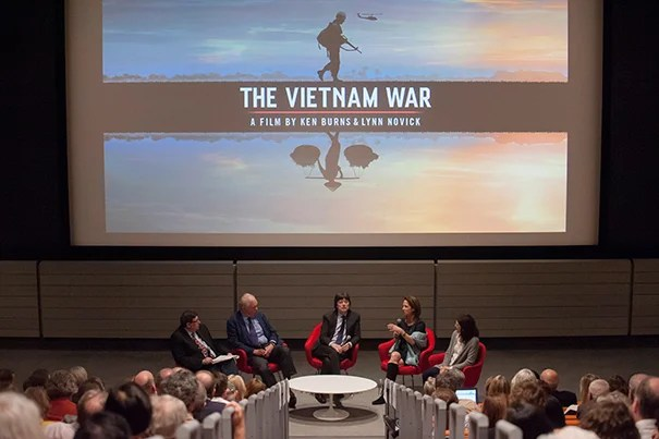"Moderator Tony Saich (from left), Ash Center director and Daewoo Professor of International Affairs, leads the discussion with Vietnam Program Director Thomas Vallely, filmmakers Ken Burns and Lynn Novick, and producer Sarah Botstein before screening a preview of ""The Vietnam War"" at the Harvard Art Museums."